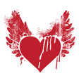 red abstract flying heart with wings and trickles vector image vector image