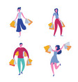 set people with shopping bags and presents vector image vector image