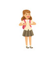 smiling girl character in school uniform standing vector image vector image