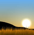 Sunrise with sun mountain and grass field vector image vector image