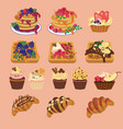 tasty sweets from waffles to muffin and pancake vector image