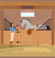 trotter in stall flat composition vector image vector image