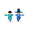 two asian men cartton character wearing vector image