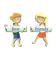 two best friends with text vector image vector image