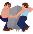 Two cartoon men in blue pants and blue tops vector image vector image