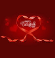valentine realistic heart from red silk ribbon vector image vector image