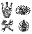 vintage supermarket sale emblems vector image