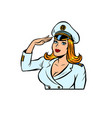 woman captain a sea ship vector image vector image