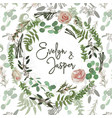 wreath with flowers and leaves pattern fern vector image
