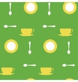 yellow cups and tea spoons vector image