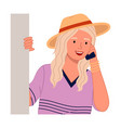 young woman with phone peeping from behind the vector image vector image