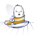 baby child head on coffee cup vector image