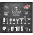 Typographical Drinks Design Elements on Chalkboard vector image