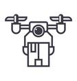 drone logistics line icon sign vector image