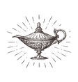 Aladdin magic or genie lamp Vintage sketch vector image