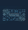 blockchain technology blue line horizontal vector image vector image