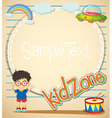 Border design with boy and toys vector image vector image