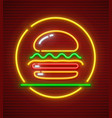 burger neon icon hamburger vector image