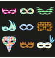 carnival rio colorful pattern masks design icons vector image