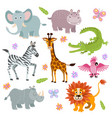 cartoon cute african savanna animals set vector image vector image