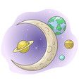 cartoon space with moon and planets vector image vector image