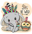 cartoon tribal elephant and owl with feathers vector image