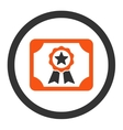 Certificate flat orange and gray colors rounded vector image