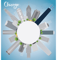 Chicago city skyline with grey skyscrapers vector image vector image