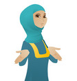 confused muslim business woman shrugging shoulders vector image vector image