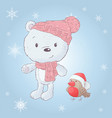 cute cartoon white bear in a hat with a bullfinch vector image