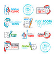dental clinic cartoon tooth and toothbrush icons vector image