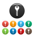 door key icons set color vector image vector image