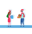 european couple giving present gift box each other vector image vector image