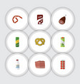 flat icon food set of tomato beef bottle and vector image vector image