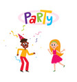 flat man and girl dancing in party hat vector image vector image