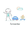 forwarder drives a car with a trailer which is an vector image vector image