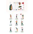 golf characters sport healthy activities white vector image