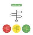 guide sign outline icons set vector image vector image