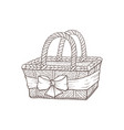 hand drawn basket vector image vector image