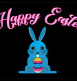 happy easter blue bunny easter egg vector image vector image