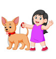 happy girl walking with her dog vector image