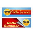 hello summer lettering colorful banners set vector image vector image