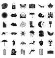 landscape icons set simple style vector image vector image