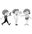 Male and female waiters serving vector image