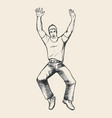 man jumps sketch vector image