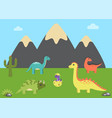 prehistoric animals and nature vector image vector image
