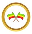 Rastafarian crossed flags icon vector image vector image
