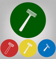 safety razor sign 4 white styles of icon vector image