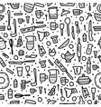 seamless pattern of kitchen equipments vector image