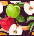 seamless pattern with red and green apples vector image